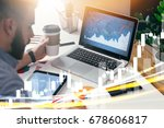 young businessman is sitting in ... | Shutterstock . vector #678606817