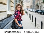 cheerful attractive young woman ... | Shutterstock . vector #678608161