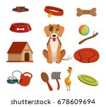 Stock vector different accessories for domestic pet dog in house vector illustrations set 678609694