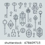 vintage keys and padlocks for... | Shutterstock .eps vector #678609715