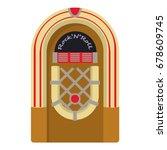 cartoon illustration of jukebox ... | Shutterstock .eps vector #678609745