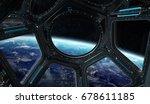 window view of planet earth... | Shutterstock . vector #678611185