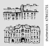 sketch of city houses. hand...   Shutterstock .eps vector #678611731