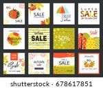 set of artistic creative autumn ... | Shutterstock .eps vector #678617851