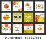 set of artistic creative autumn ... | Shutterstock .eps vector #678617851