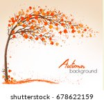 autumn background with a tree... | Shutterstock .eps vector #678622159