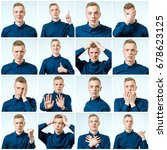 set of young man's portraits... | Shutterstock . vector #678623125