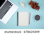 minimal workplace with laptop... | Shutterstock . vector #678624349