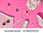 summer hipster girl accessories ... | Shutterstock . vector #678624529