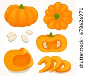 pumpkin vector. a set of whole  ... | Shutterstock .eps vector #678626971