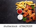 grilled chicken wings with... | Shutterstock . vector #678629209