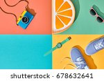 fashion summer hipster set.... | Shutterstock . vector #678632641