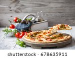 hot homemade pizza with... | Shutterstock . vector #678635911