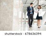 asian businessman and secretary ... | Shutterstock . vector #678636394