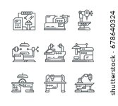 industrial machines vector line ... | Shutterstock .eps vector #678640324