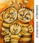 Painting Illustration Of Cats...