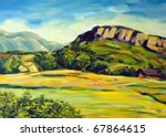 Painting Of Rural Mountain Scene