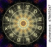 magic circle with zodiacs sign...   Shutterstock . vector #678655267