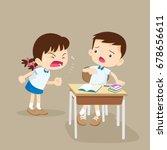 quarreling kids. angry girl... | Shutterstock .eps vector #678656611