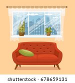 living room cozy interior with... | Shutterstock .eps vector #678659131