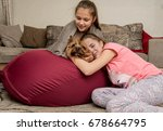 two girlfriends resting at home ... | Shutterstock . vector #678664795