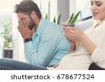 upset bearded guy and happy... | Shutterstock . vector #678677524