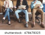 girl and guys waiting for job... | Shutterstock . vector #678678325