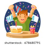 happy boy and a birthday cake.... | Shutterstock .eps vector #678680791