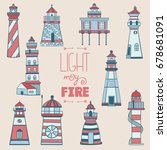 lighthouse hand drawn isolate... | Shutterstock .eps vector #678681091