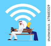 wi fi concept. young muslim... | Shutterstock .eps vector #678683329
