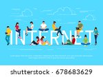 internet concept. young people... | Shutterstock .eps vector #678683629