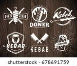 doner kebab logos. vector kebab ... | Shutterstock .eps vector #678691759