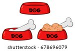 dog bowl with animal food and... | Shutterstock .eps vector #678696079
