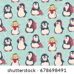 seamless pattern with cute... | Shutterstock .eps vector #678698491