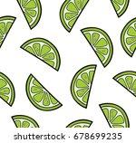 lime slices summer seamless... | Shutterstock .eps vector #678699235