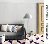 mock up wall in interior with ... | Shutterstock . vector #678699565