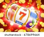 golden slot machine with flying ...   Shutterstock .eps vector #678699664