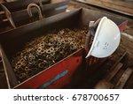 a construction helmet against a ... | Shutterstock . vector #678700657