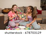lovely young girls relax and... | Shutterstock . vector #678703129