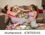 lovely young girls relax and... | Shutterstock . vector #678703141