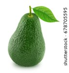 green avocado with leaf... | Shutterstock . vector #678705595