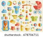 newborn infant themed cute flat ... | Shutterstock .eps vector #678706711