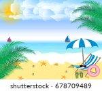 summer holidays. beach seashore....   Shutterstock .eps vector #678709489
