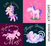 cute unicorn isolated set ... | Shutterstock .eps vector #678716095