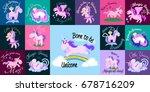 cute unicorn isolated set ...   Shutterstock .eps vector #678716209