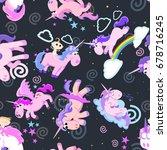 cute unicorn seamless pattern ... | Shutterstock .eps vector #678716245