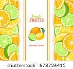 ripe orange lime lemon vertical ... | Shutterstock .eps vector #678726415