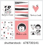 vector cards with cute happy... | Shutterstock .eps vector #678730141