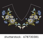 Embroidery Neckline Floral...