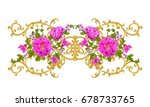 golden textured curls. oriental ... | Shutterstock . vector #678733765